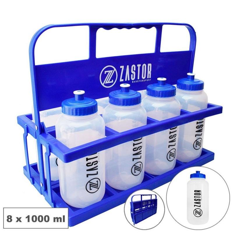Pack 8 Botellas 1000 ml con Portabotellas Plegable Azul