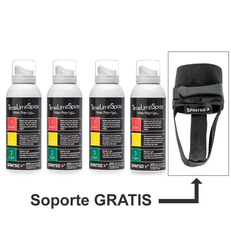 Pack Ahorro 4 Spray Arbitral Spintso TimeLimit + Soporte Gratuito
