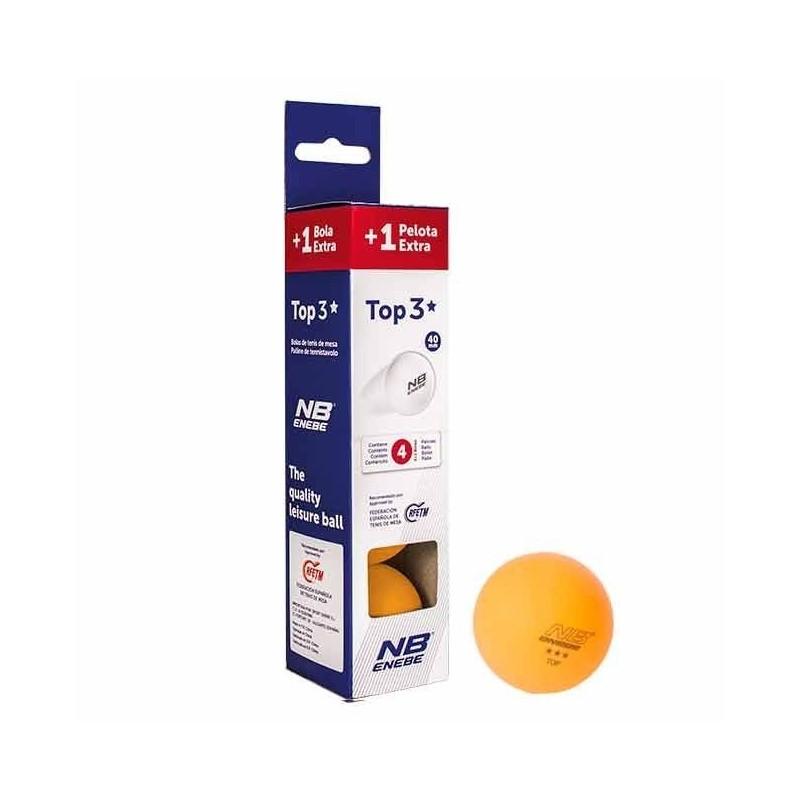 Caja 3+1 Pelotas P.Pong Enebe Top 3 Estrella Naranja