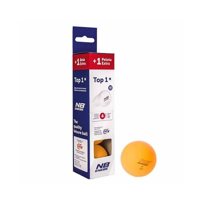 Caja 3+1 Pelotas P.Pong Enebe Top 1 Estrella Naranja