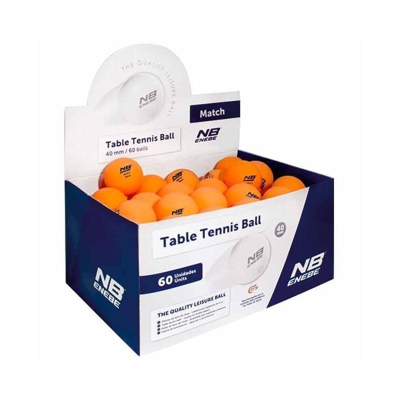 Caja 60 Pelotas Ping Pong Enebe Match Naranja