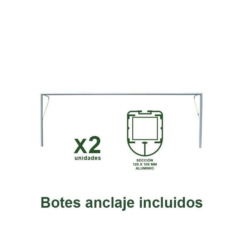 Juego Porterías Fútbol 7 Fijas - Aluminio Oval