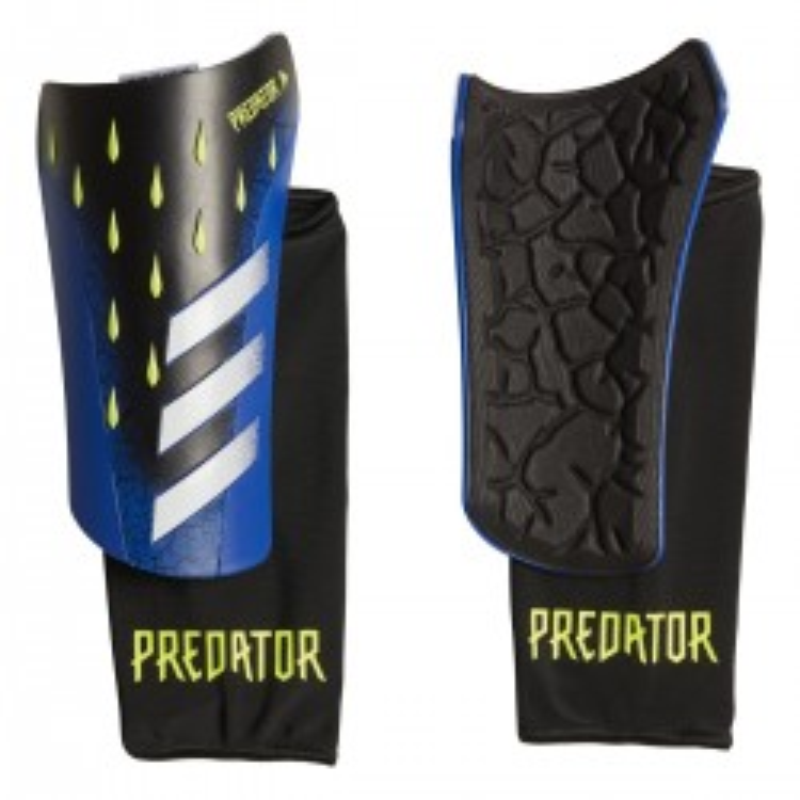 Espinilleras Adidas Predator League color azul, negro y amarillo neón